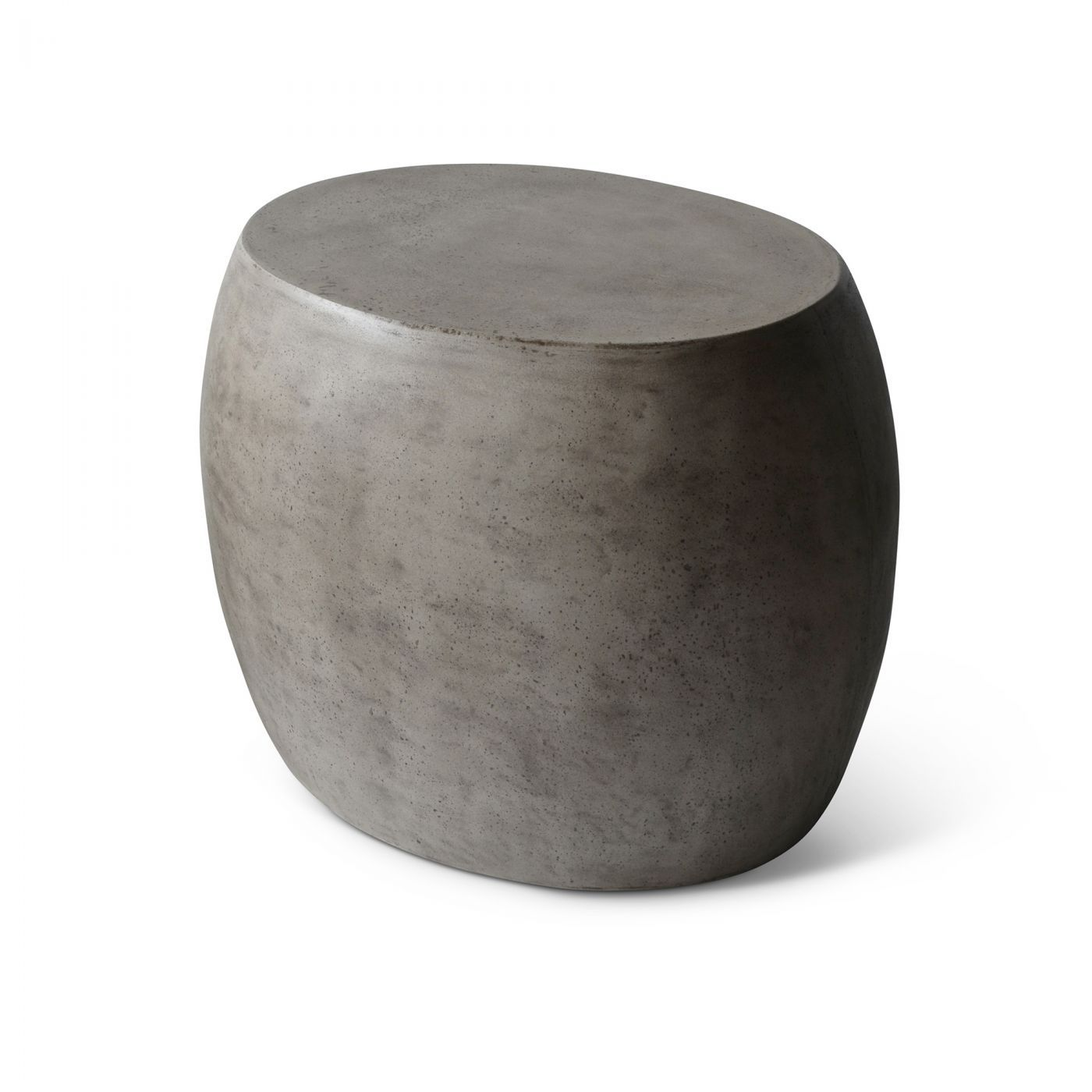 A side table made of fiber-reinforced concrete, softened with a ...
