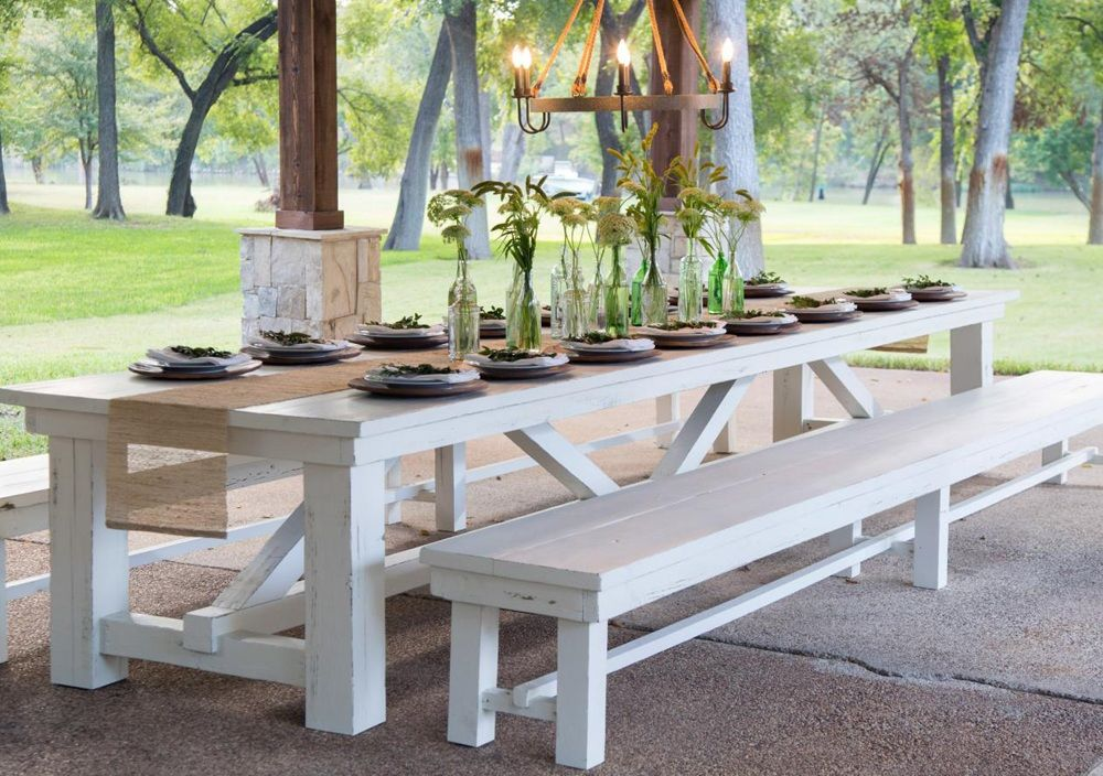 White Wood Outdoor Dining Table Farm Dining Table Farmhouse