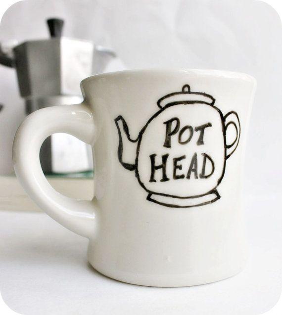 Funny Mug, tea mug, tea cup, diner mug, black white, hand painted, tea pot, pot head, ceramic mug, u #teamugs