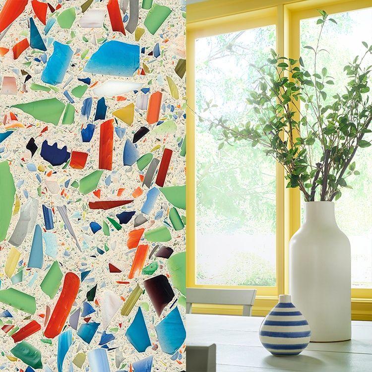 2017 Behr Paint Color Trends Lemon Burst Millefiori Vetrazzo Recycled Glass