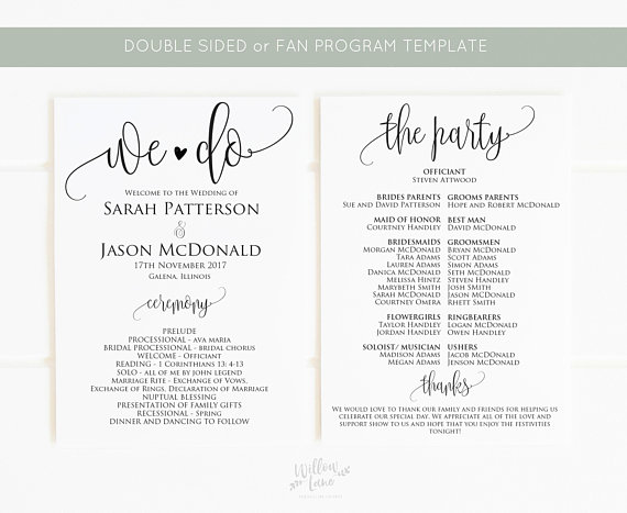Wedding Program Template Wedding Program Printable We Do Etsy In 2020 Wedding Programs Template Wedding Program Fans Program Template