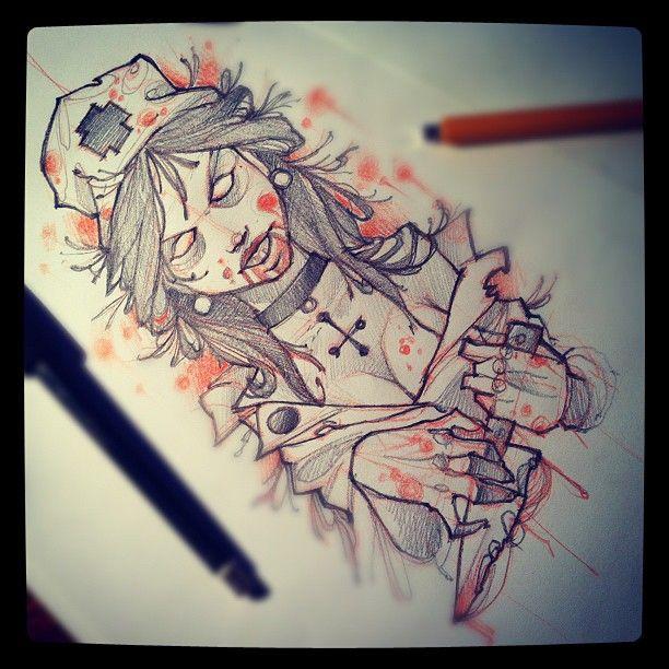 Tattoo Sketch Zombie Girl Zombie Girl Tattoos Zombie Tattoos Zombie Drawings