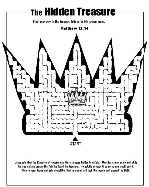 Parable of the hidden treasure maze sunday school for Parable of the wedding feast coloring page