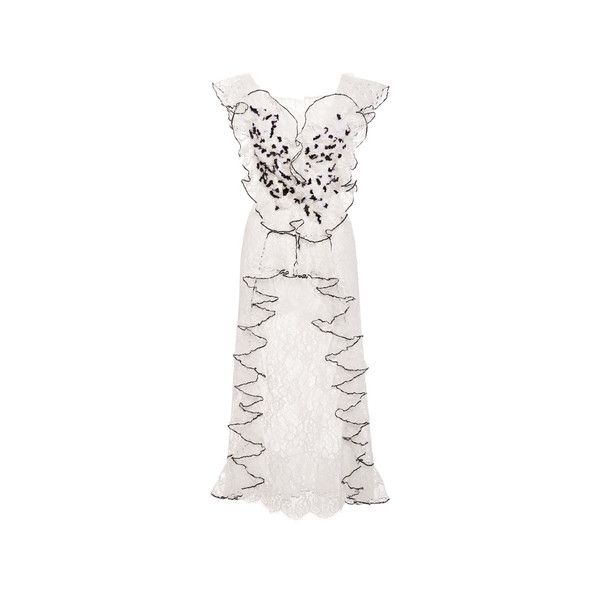 Rodarte     Hand Embroidered Honeycomb Tulle And Lace Dress (€8.235) ❤ liked on Polyvore featuring dresses, lace dress, sheath dresses, sheath cocktail dress, white sheath dress and white tulle dress