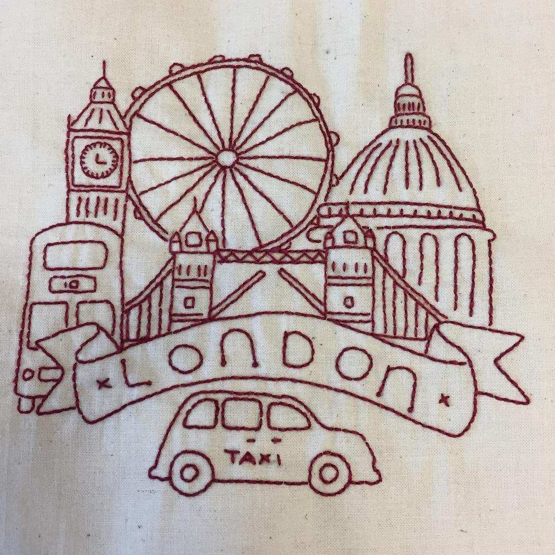 Mandy Shaw On Instagram London For The Redwork Club Redworkclub Redwork Dandeliondesigns Mandyshaw Dandelion Designs Redwork Patterns Cross Stitch Kits