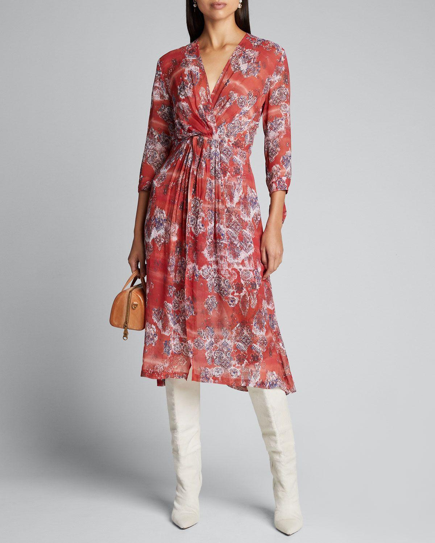 Iro Gramy Printed 3 4 Sleeve Midi Dress Iro Cloth Midi Dress With Sleeves Midi Dress Dresses [ 1500 x 1200 Pixel ]