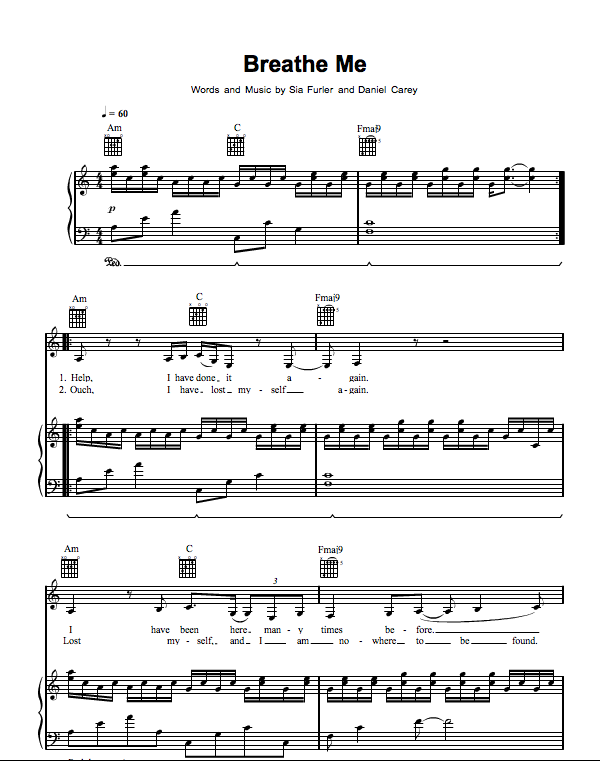 Breathe Me Sia Piano Sheet Music Pinterest Breathe Pianos