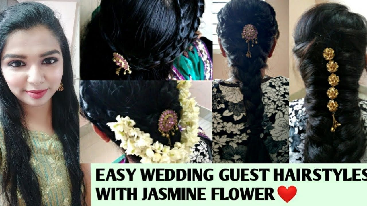 Easy Indian Wedding Guest Hairstyles With Jasmine Flower In Tamil Hairstyles In 2020 Wedding Guest Hairstyles Easy Wedding Guest Hairstyles Indian Wedding Hairstyles