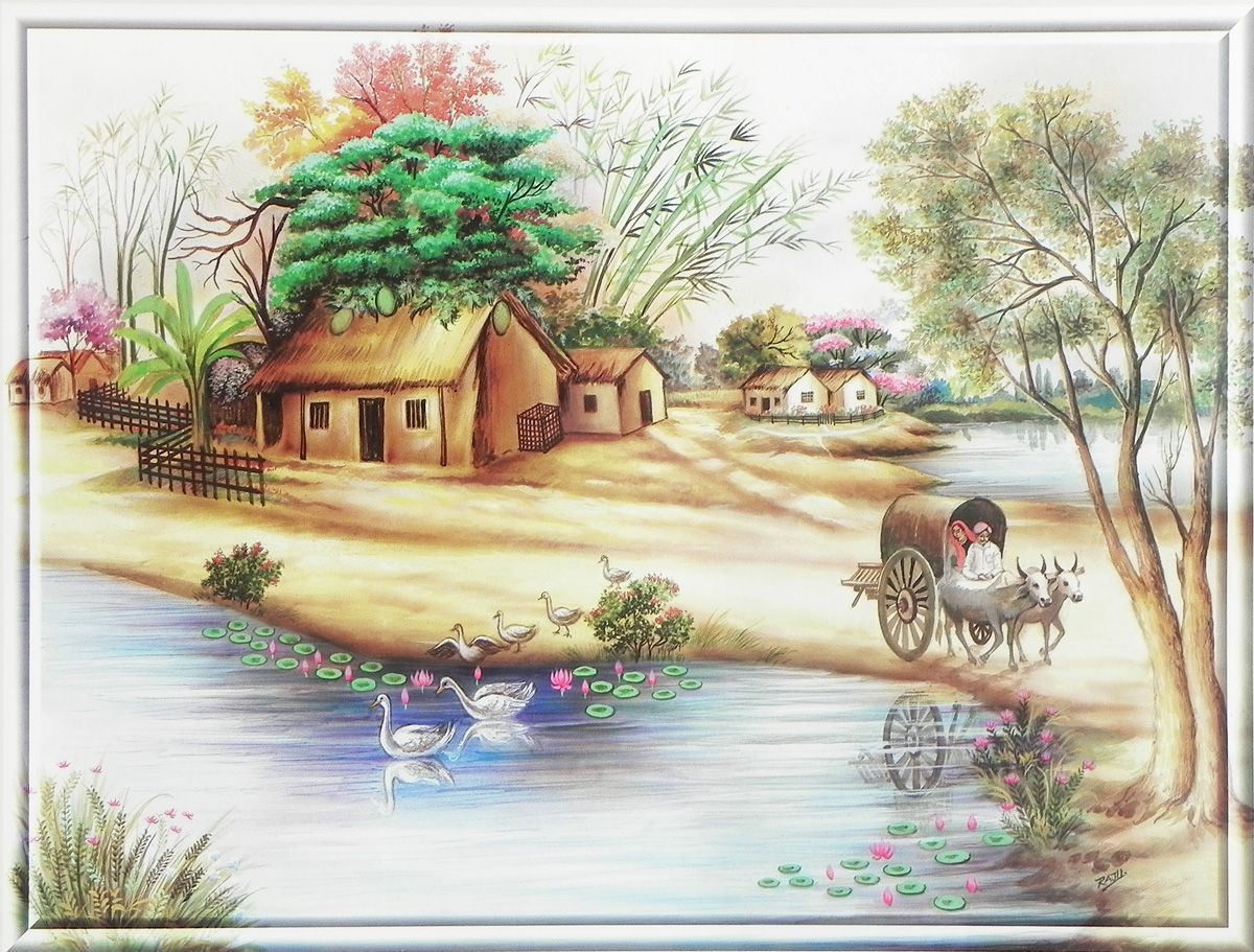 Beautiful Indian Countryside Myanmar Art Nature Posters Indian Art