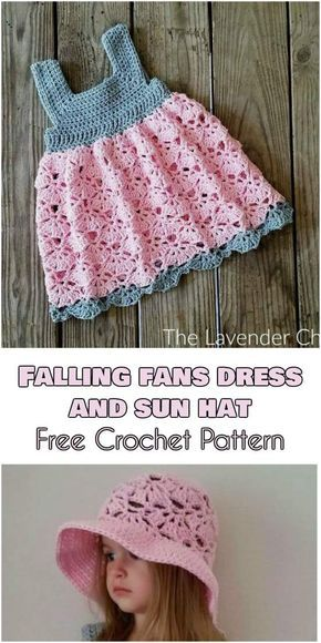 Falling Fans Dress And Sun Hat Free Crochet Pattern Pinterest