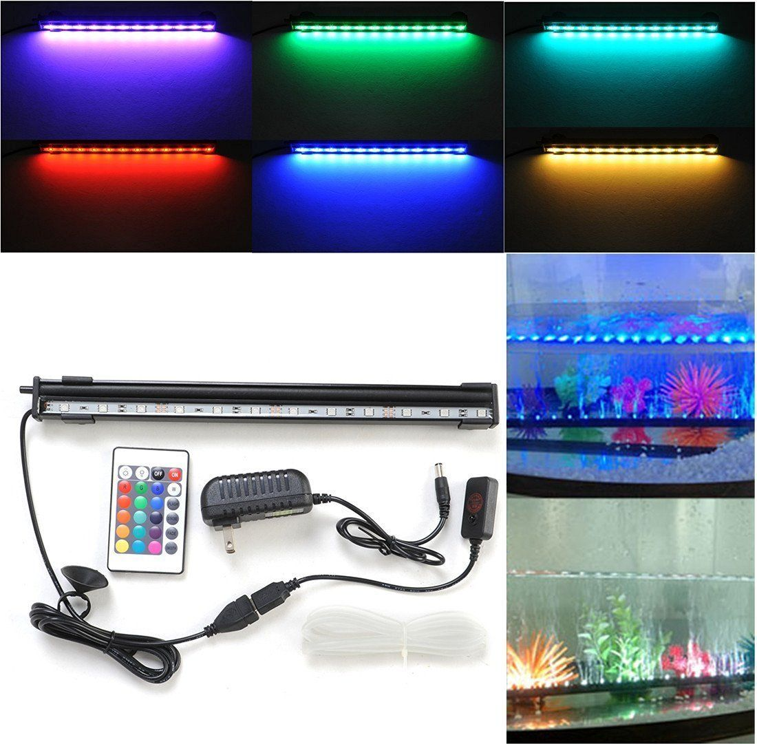Amazon Com Amzdeal 12 Inch Aquarium Light Aquarium Led Waterproof Fish Tank Light Rgb 16 Color 24 Led Led Aquarium Lighting Aquarium Lighting Aquarium Led
