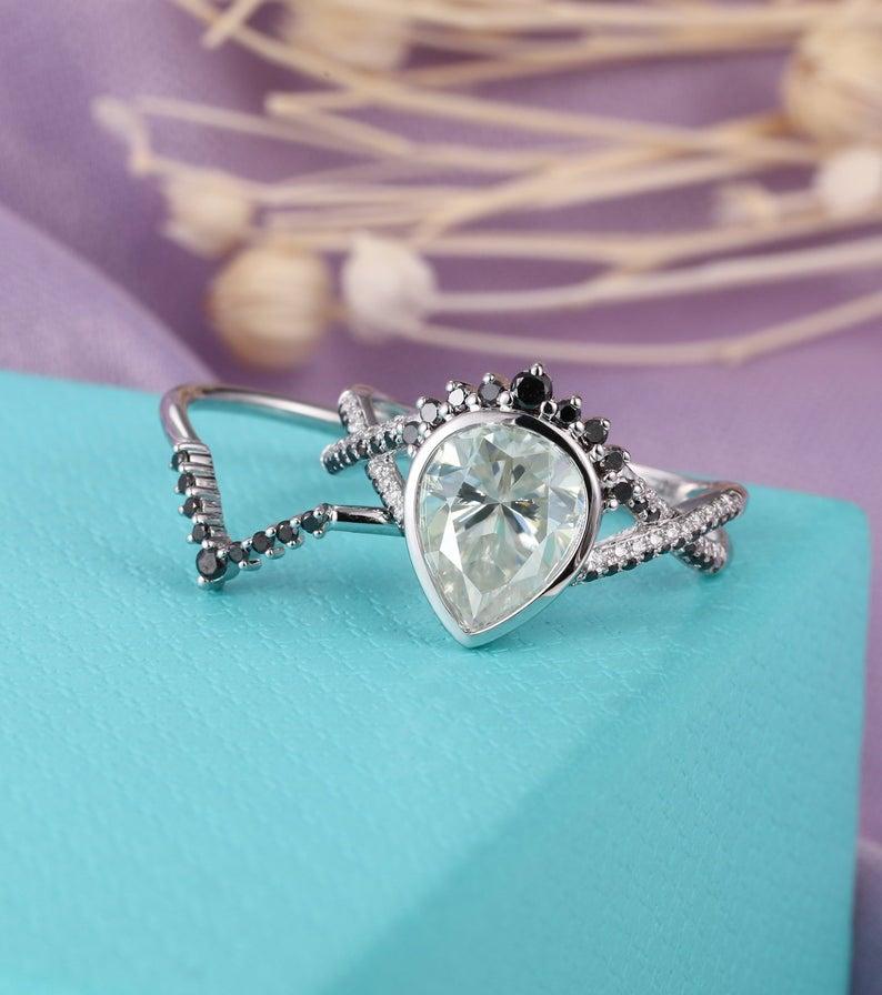 Moissanite engagement ring set white gold women Pear