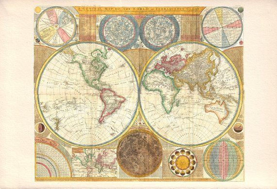 ANTIQUE WORLD MAP Antique Map Print Professional Reproduction