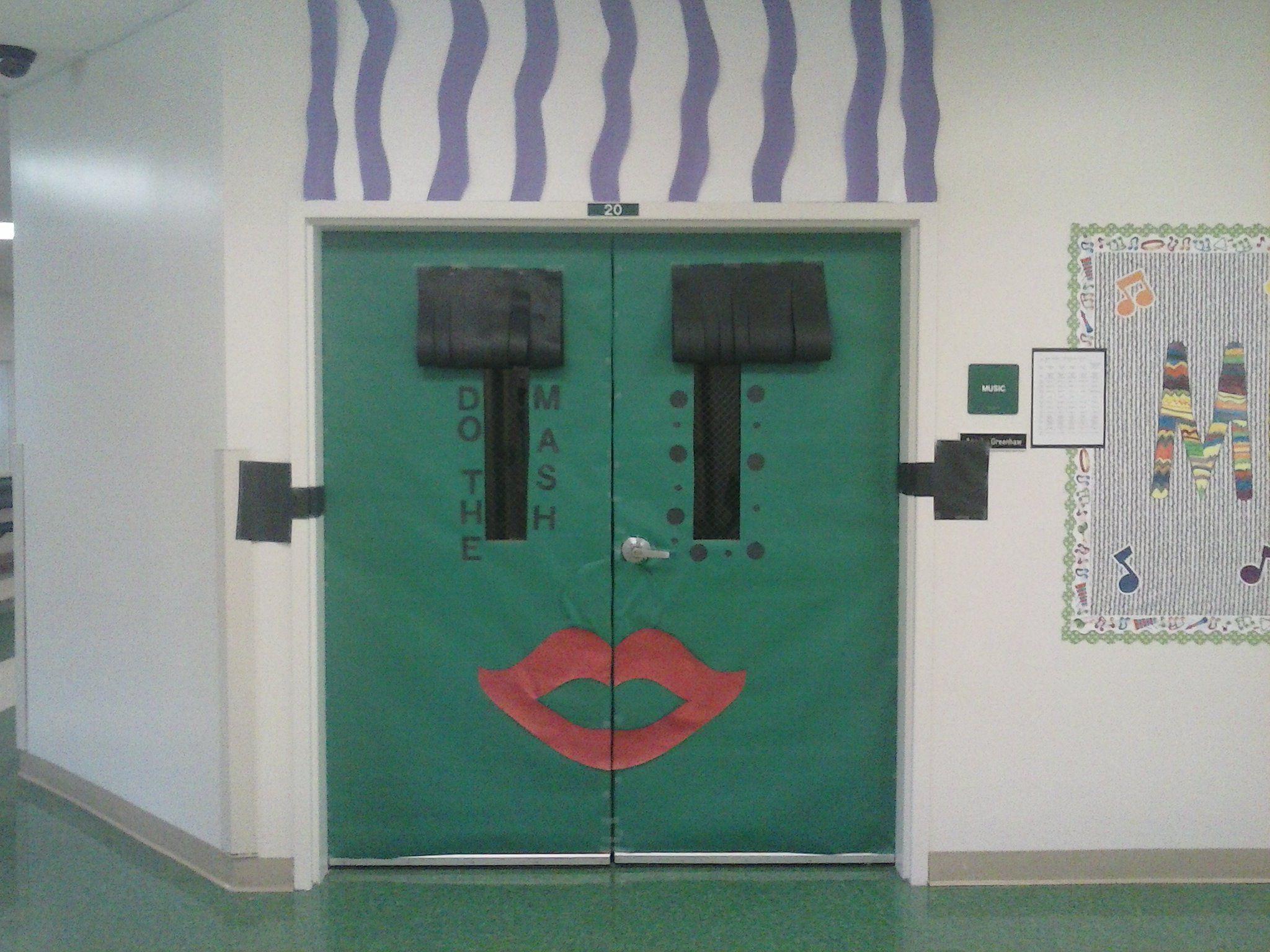 Double door decorations for 50's Day & Halloween. Bride of ...