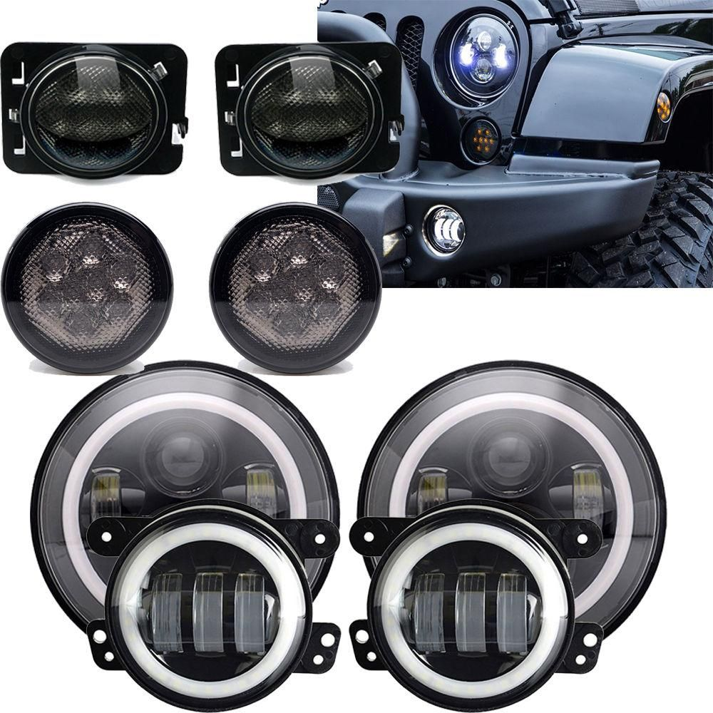 7 Led Headlight 4 5 Fog Light Turn Signal Fender Light Jeep
