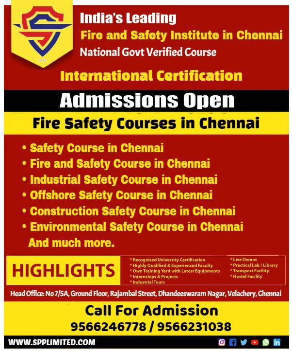 Fire and Safety Course in Chennai in 2020 Safety courses