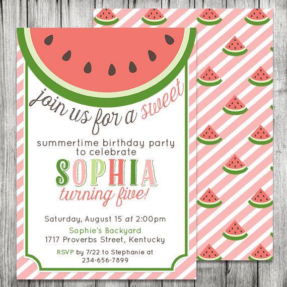 Pink, Red, Green, Watermelon Birthday Invitation - Summertime Party - birthday invitation pool party