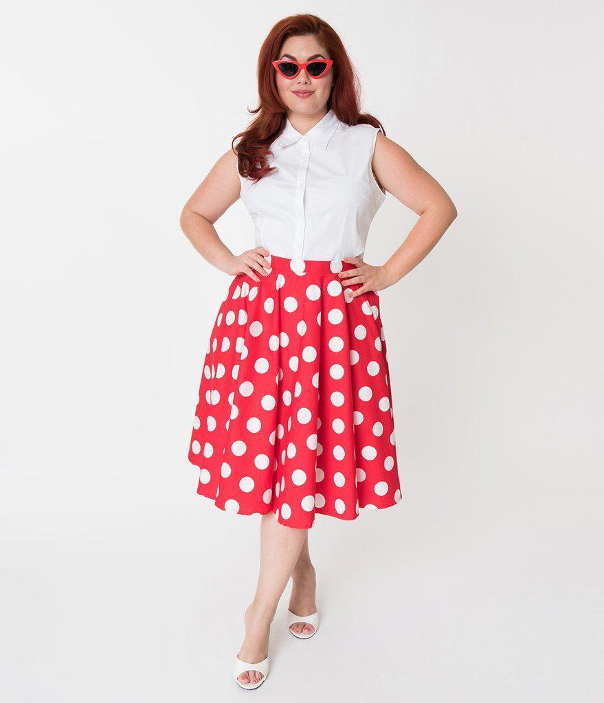 a4a42df9ef0a1 Vintage Style Plus Size Red   White Polka Dot Cotton Circle Skirt ...