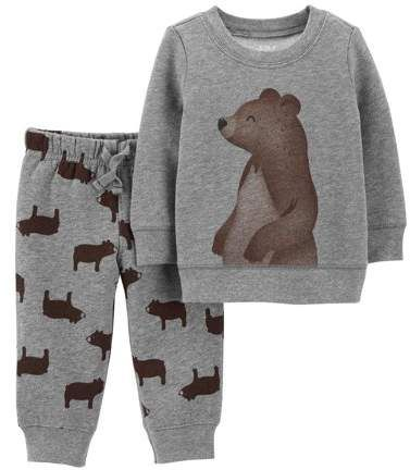 422a21071 Carter's Child of Mine by Long Sleeve Fleece T-Shirt & Jogger Pants, 2-Piece  Outfit Set (Baby Boys)