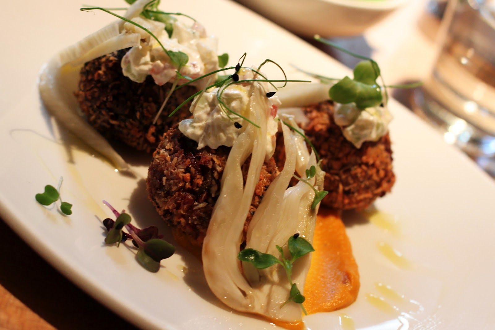 Bengal spiced beetroot fritters with pickled fennel.