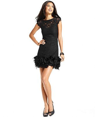 Jessica Simpson Dress Cap Sleeve Lace Feather Hem