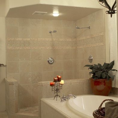 open shower with half wall