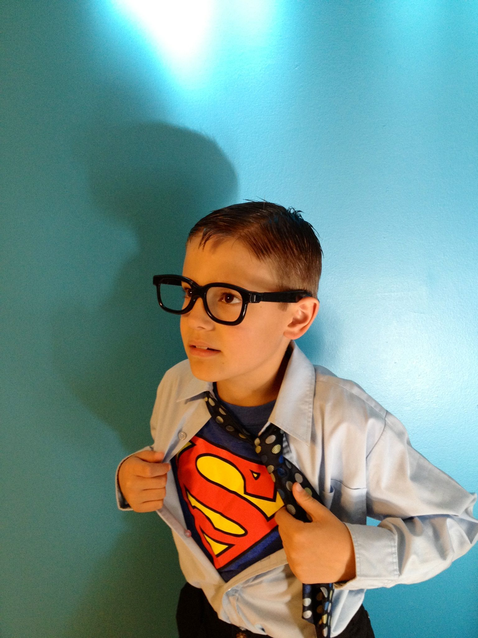 Clark Kent Halloween costume really cheap. With things you