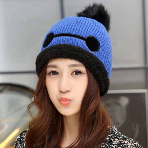 7aaf435d0e349e Big Hero 6 baymax fleece winter hats for girls hairball knit hat ...