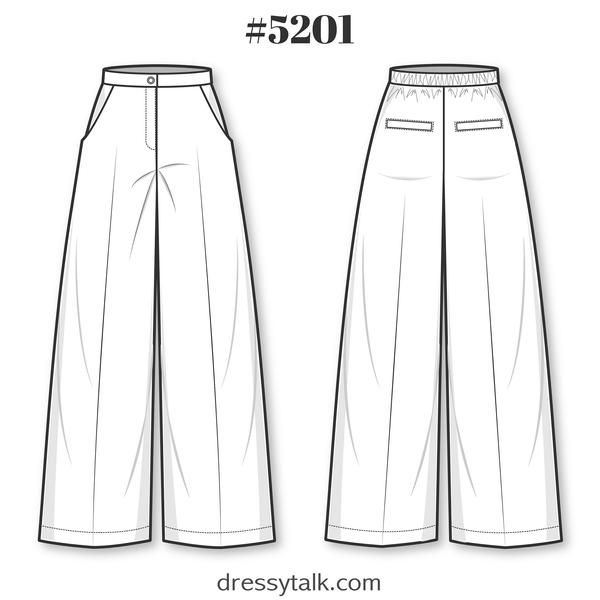 Patrón de costura de pantalones – Patrón de pantalones formales para damas – Patrón de pantalones acampanados – Patrón de pantalones palazzo – Patrón de pantalones anchos de cintura alta  – Moda