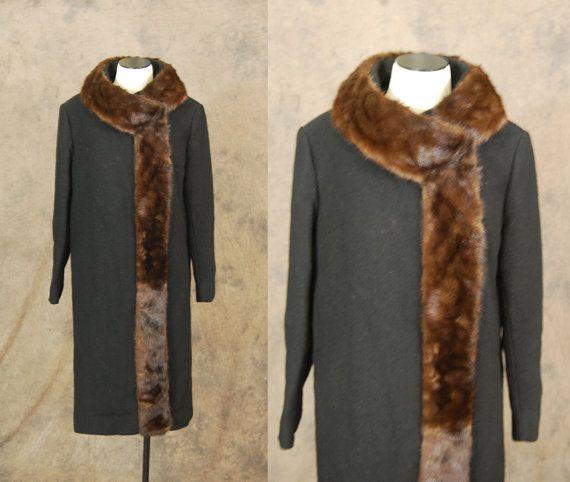 Gray vintage 50s Wool Coat  1950s Mink Collar Coat  Betty by jessamity, $205.00 LOVE IT!
