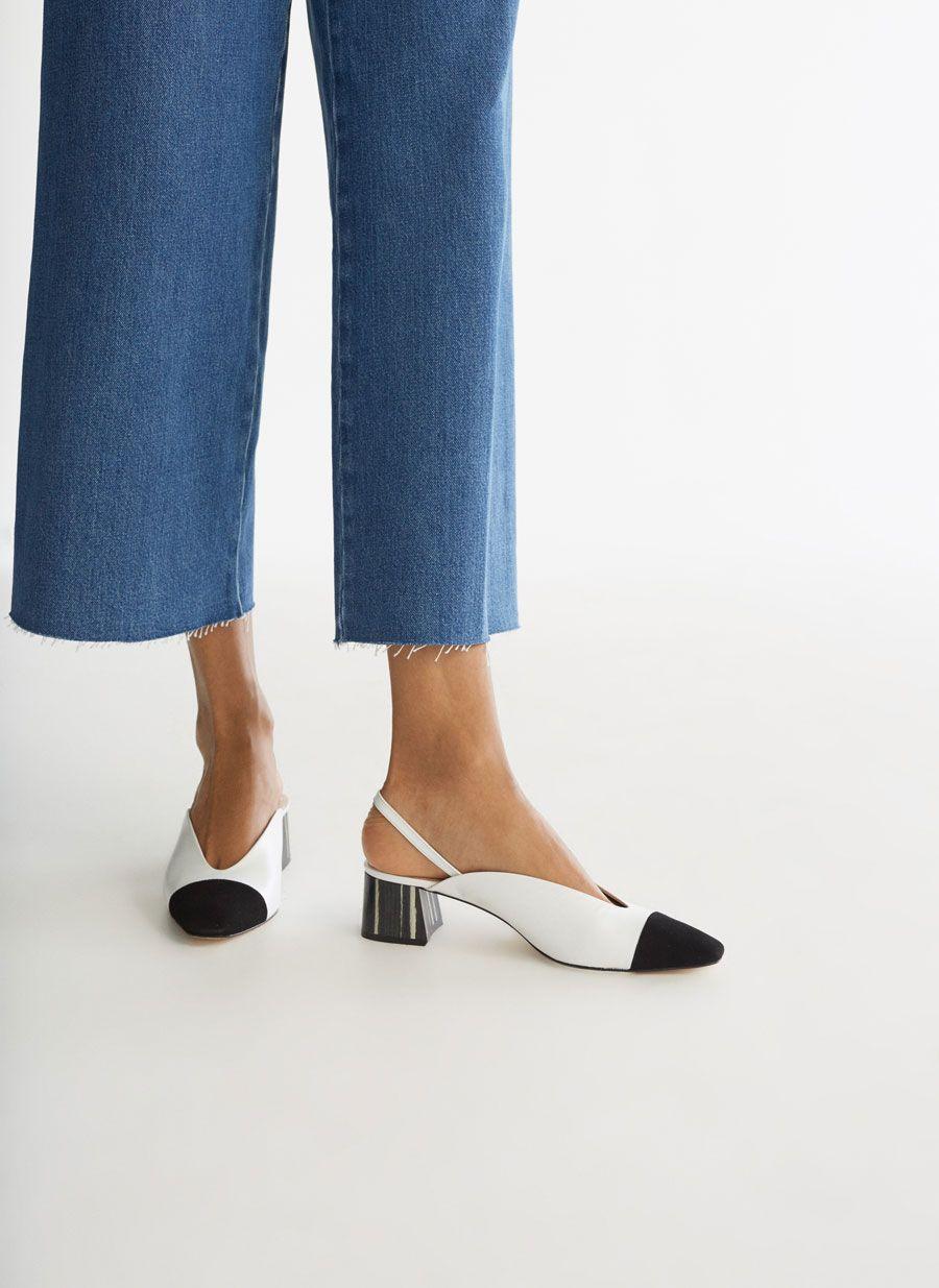 65d07a079 Two-tone slingback heels with contrast toecap - Heel Shoes - Footwear -  Uterqüe United Kingdom