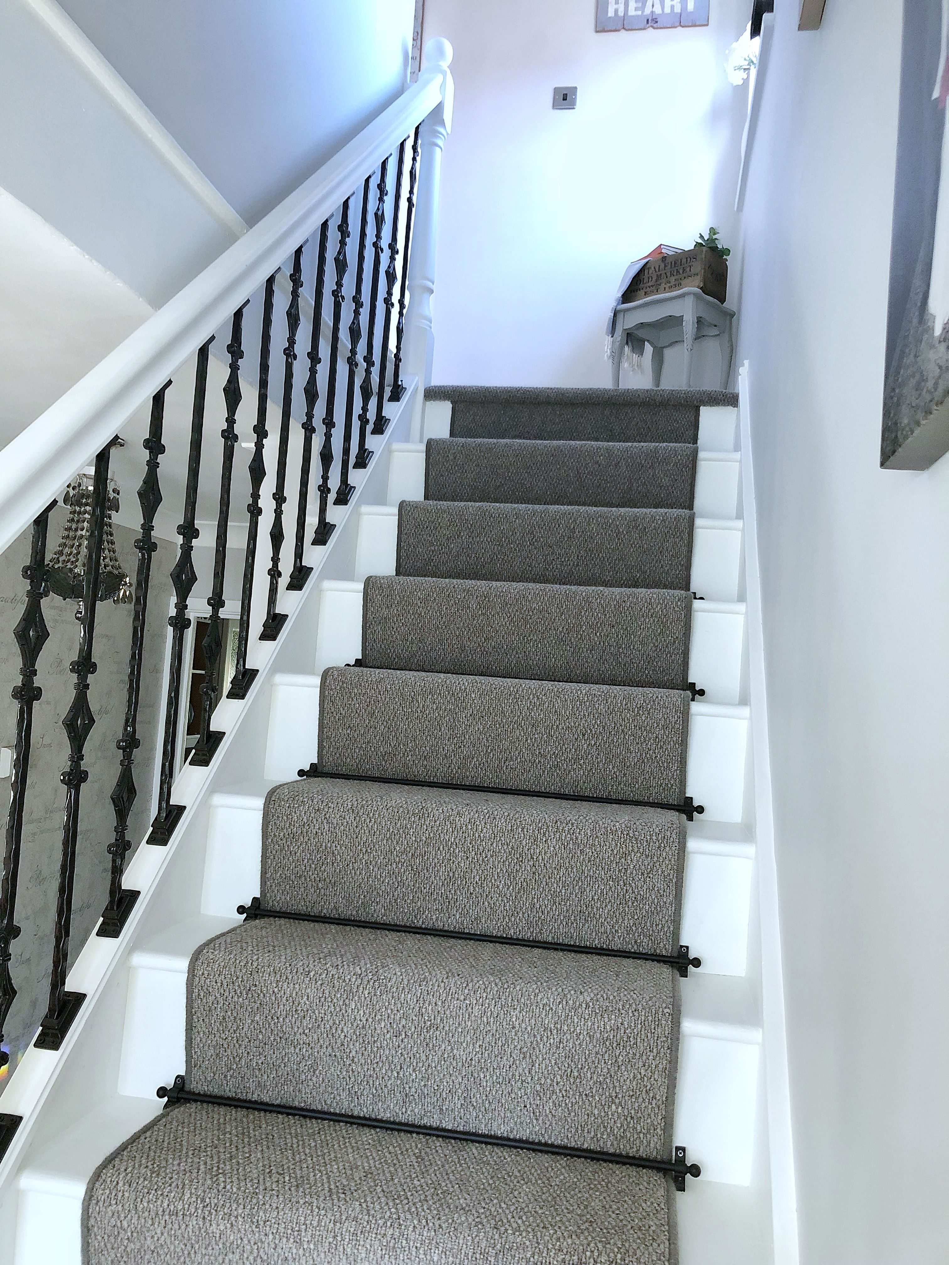 My New Staircase Grey Runner Carpet Black Stair Rods Gothic   Black And White Carpet Stairs   Victorian   Striped   Geometric   Low Cost Simple   Unusual