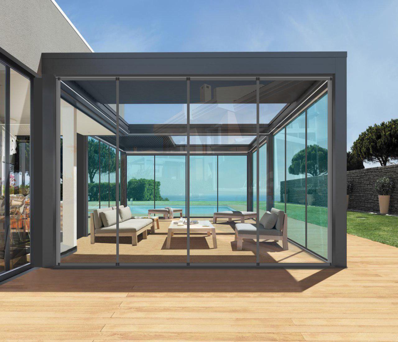Terrazze Chiuse Con Vetrate bioclimatica chiusa con vetrate panoramiche mod. solco big