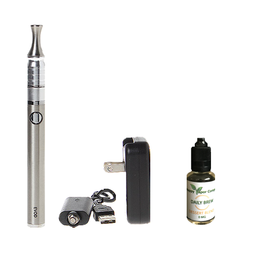 BUNDLE DEAL!  Great for the new vaper who wants to quit smoking as easily as possible!  Everything you need, starter set will last weeks, for the price of a few packs of cigarettes!    Evod Twist Starter Kit + one Daily Brew E-Liquid | The Happy Vapor Company