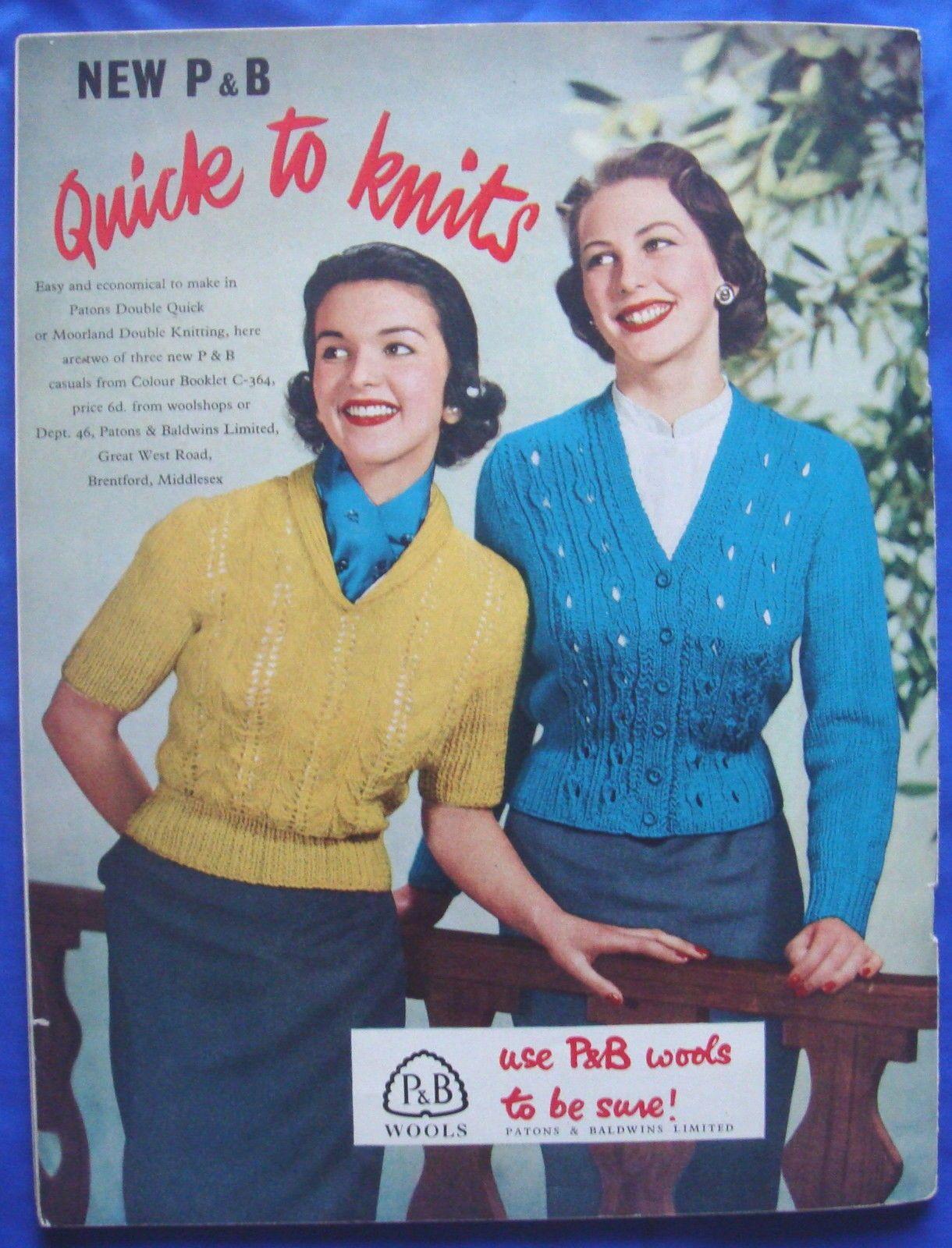 vintage VOGUE KNITTING pattern booklet book No.47 jumper/cardigan ...