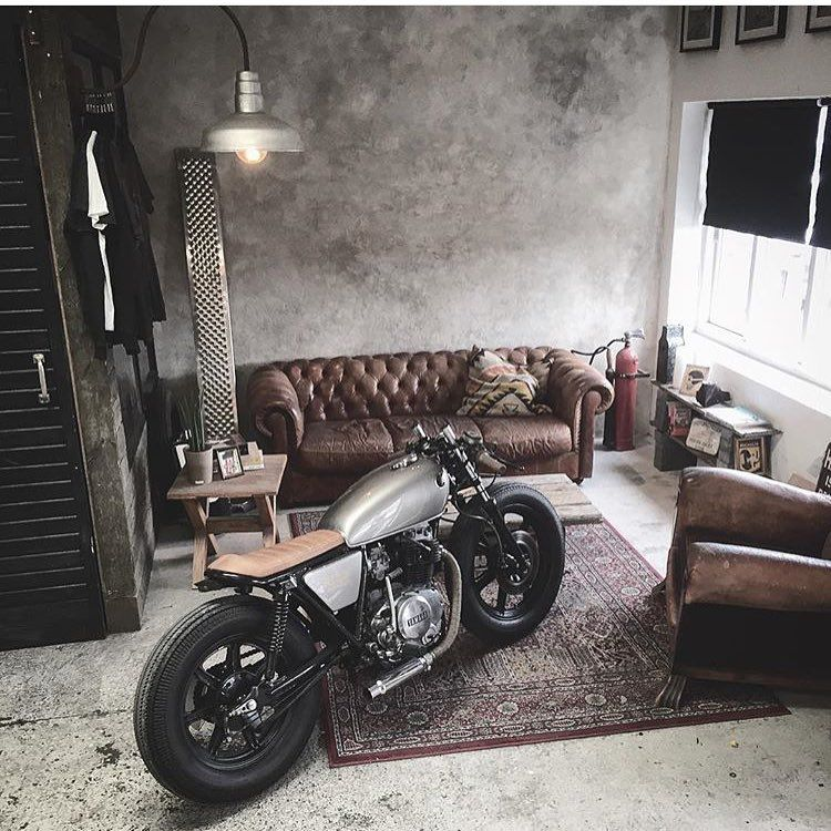 """elegant-apparatus: """" Looks like the living room is the NEW garage… I like it 😎. Via @relicmotorcycles 👍 """""""