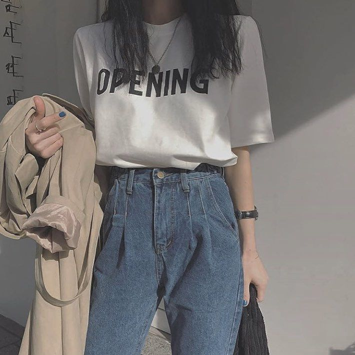 Mom Jeans Large T Shirt Koreanstyle Koreanfashion Korea Seoul Style Fashion Ulzzang Ulzzanggirl Ulzzang Korean Fashion Korean Outfits Fashion Outfits