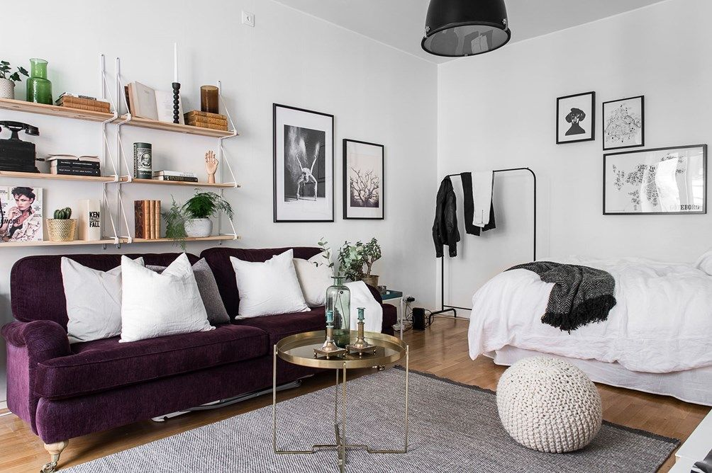 Studio Apartment With A Purple Sofa Follow Gravity Home Blog