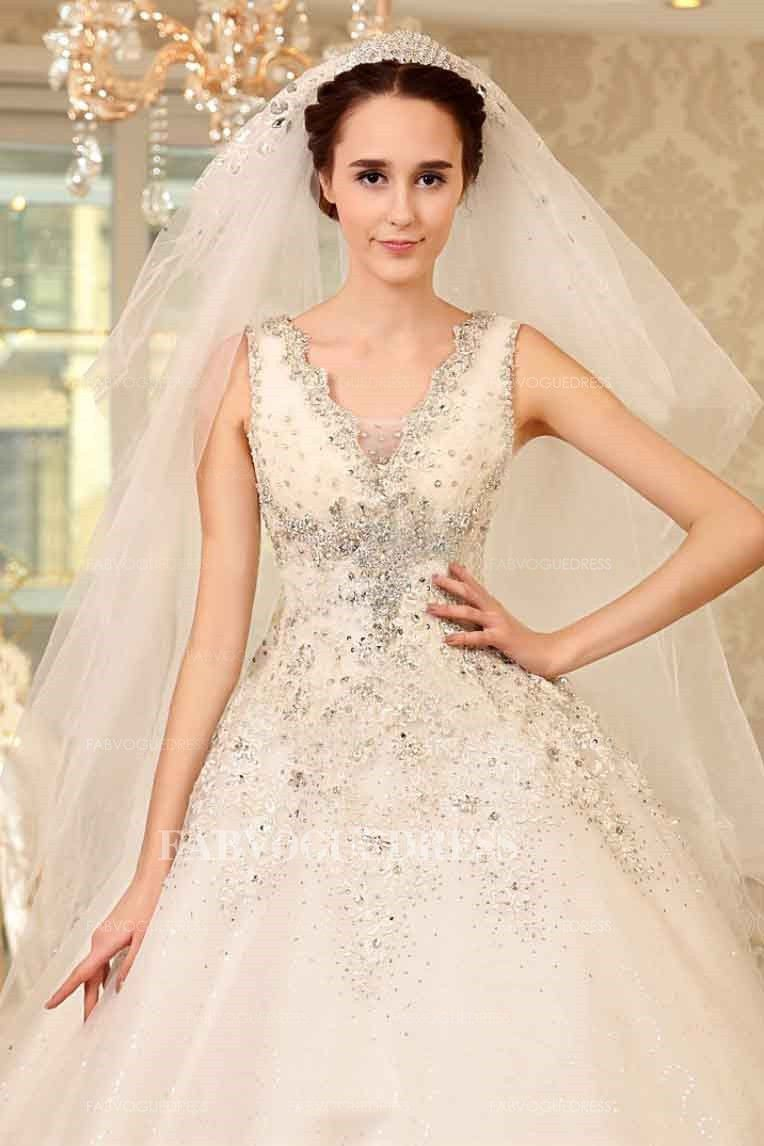 Cathedral wedding dress  Ball Gown Vneck Cathedral Train Organza Wedding Dress
