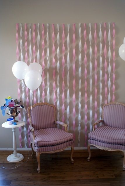 Streamer decorations on pinterest for Baby shower wall decoration ideas