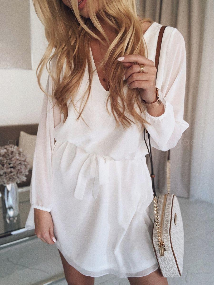 6b9ab5eac48460 MODEL 154W - Sukienka wiązana z szyfonu - CINAMOON - Najmodniejsze ubrania  w sieci