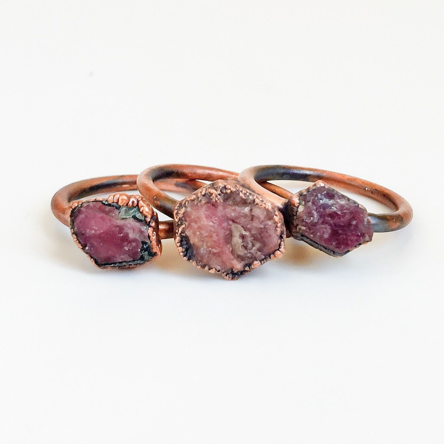 Raw Ruby and Copper Ring | Bohemian Gypsy Jewelry | Boho Festival Jewellery | Hippie Style Fashion | Indie and Harper