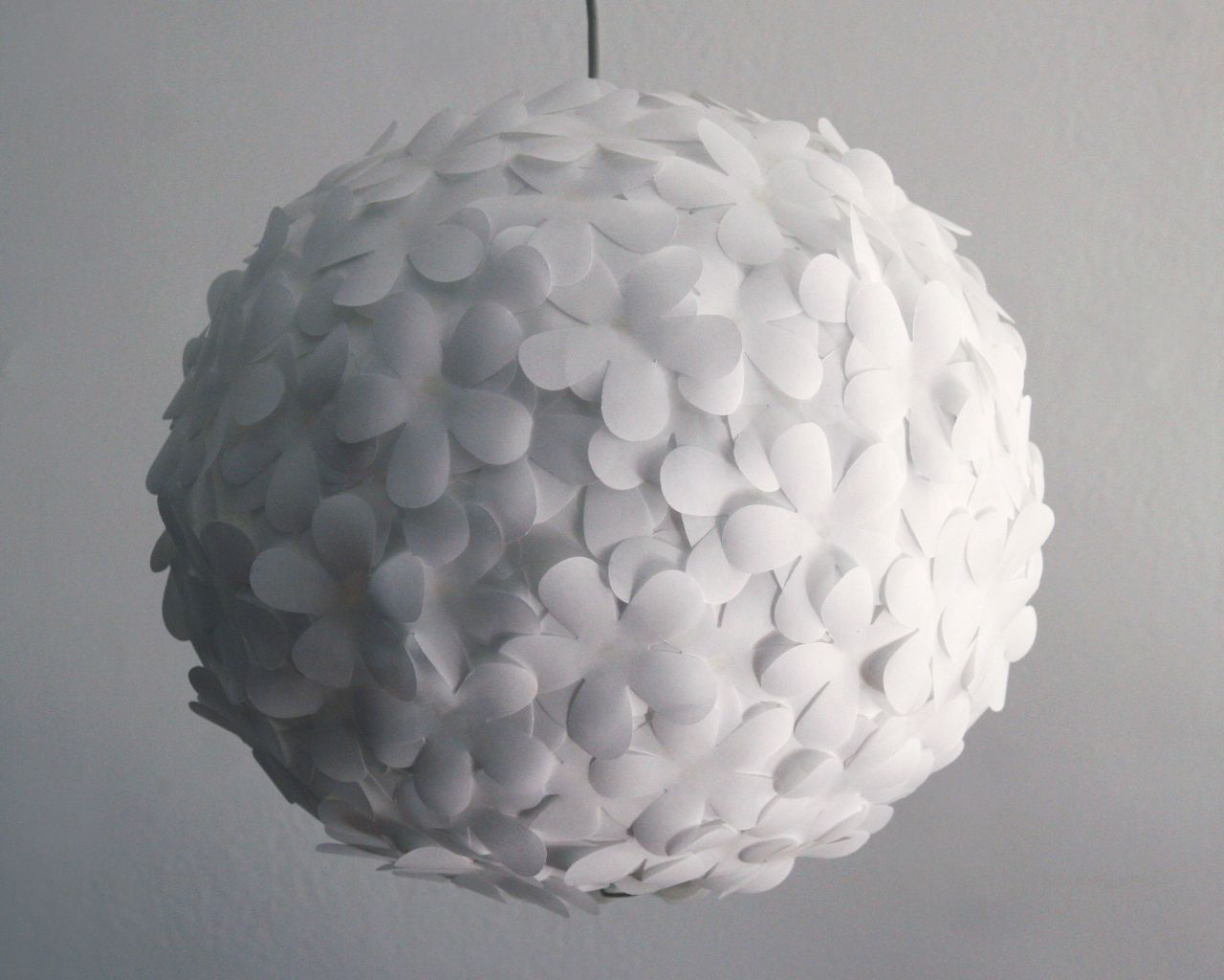 White paper flower pendant light paper lamps white paper and white paper flower pendant light mozeypictures Image collections