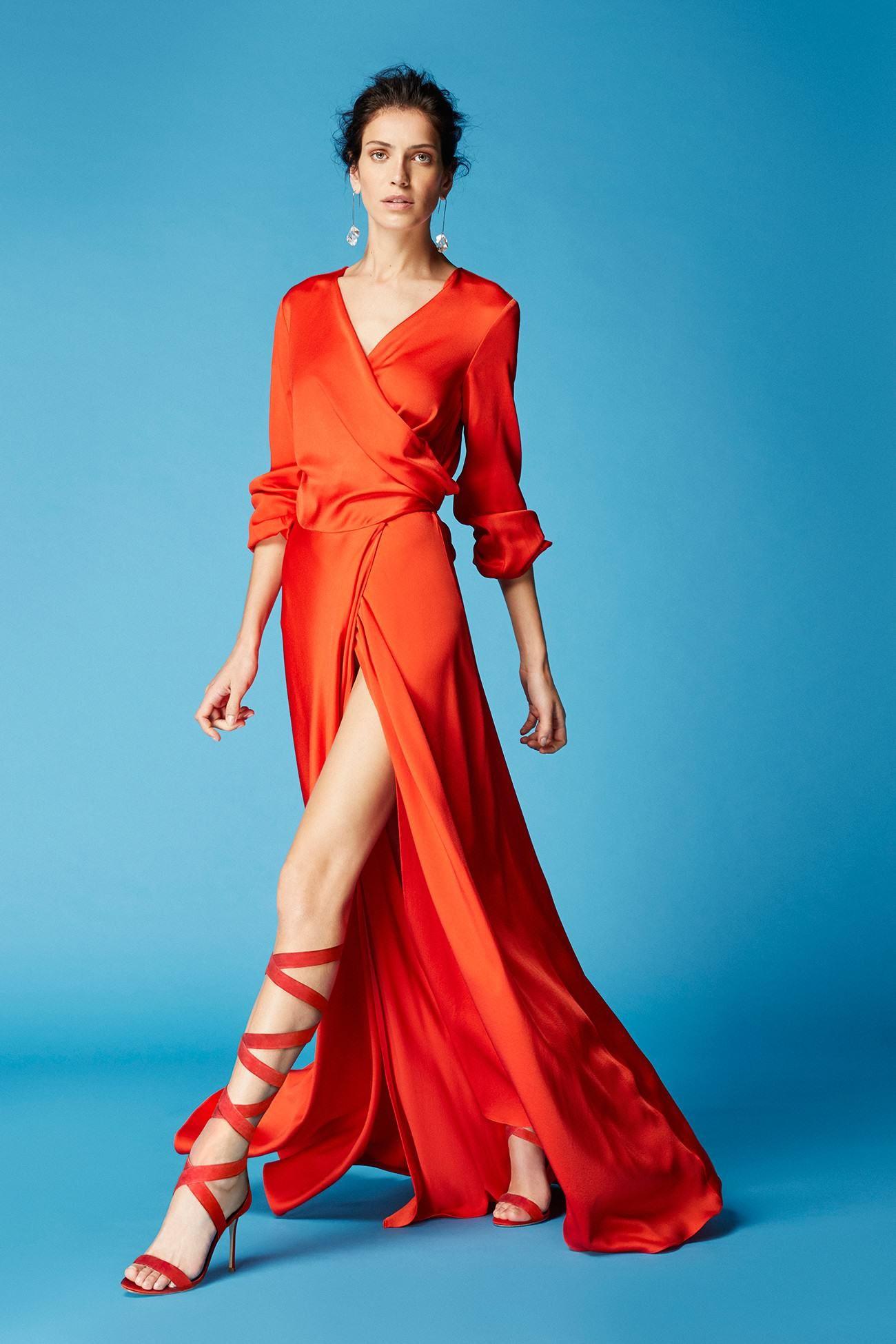 Vestido camisero rojo largo