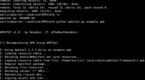 APKStat will use APK Tool to decompress and decode your APK file