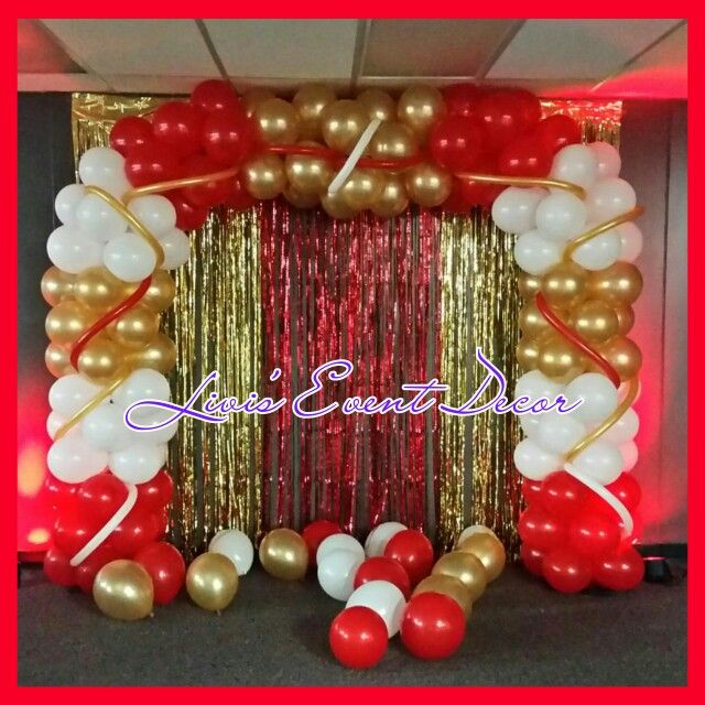 Red Gold And White Balloon Arch Baby Shower Royal Prince