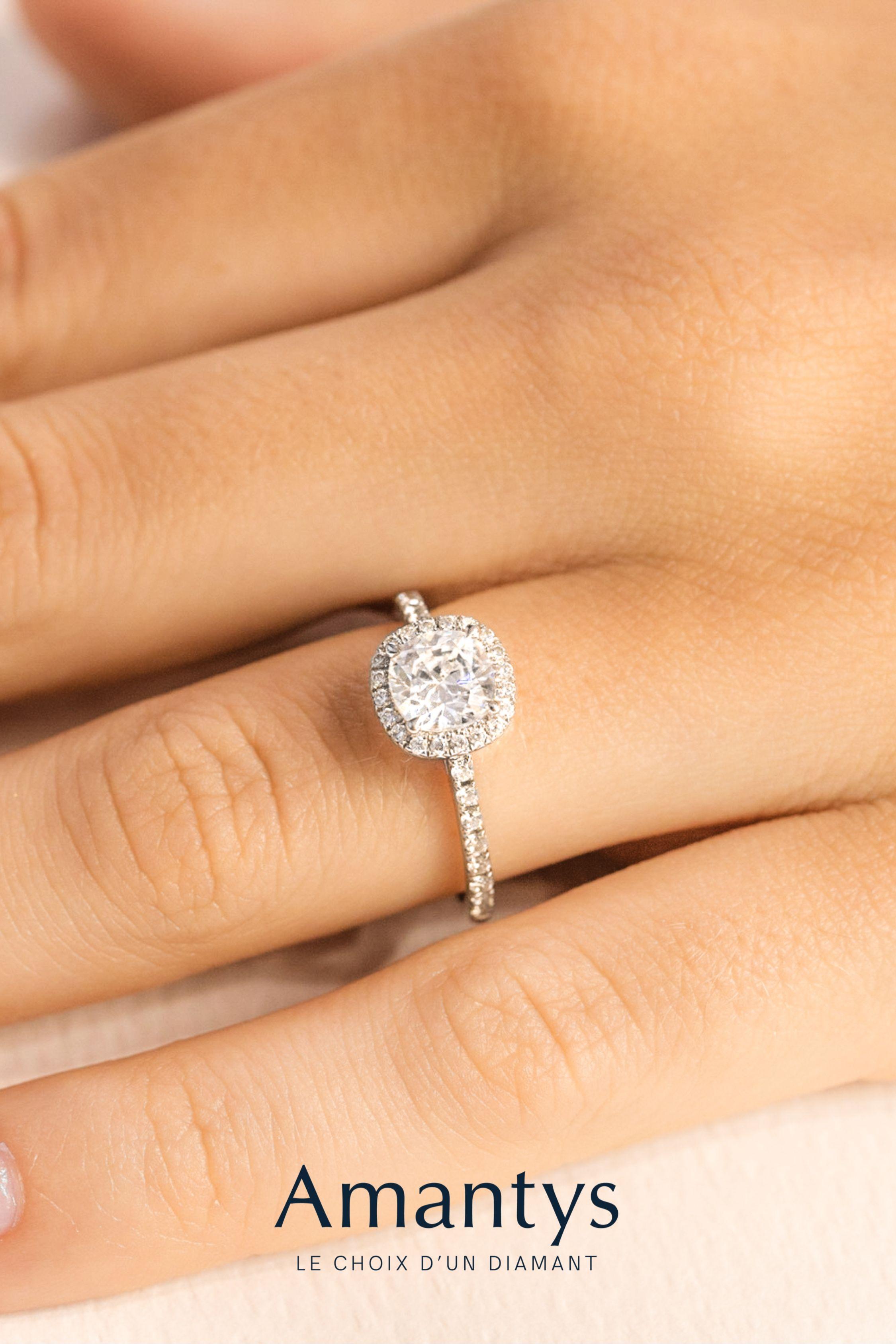 Solitaire Diamant Mariage Bague De Fiancailles Sur Mesure Delicate Taille Coussin Bagues De Fiancailles Solitaire Bague De Fiancailles Bague
