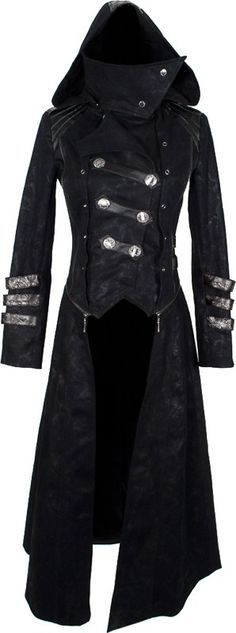 Punk Rave Womens Gothic Coat Jacket Long Black Brocade Damask Faux Fur Steampunk