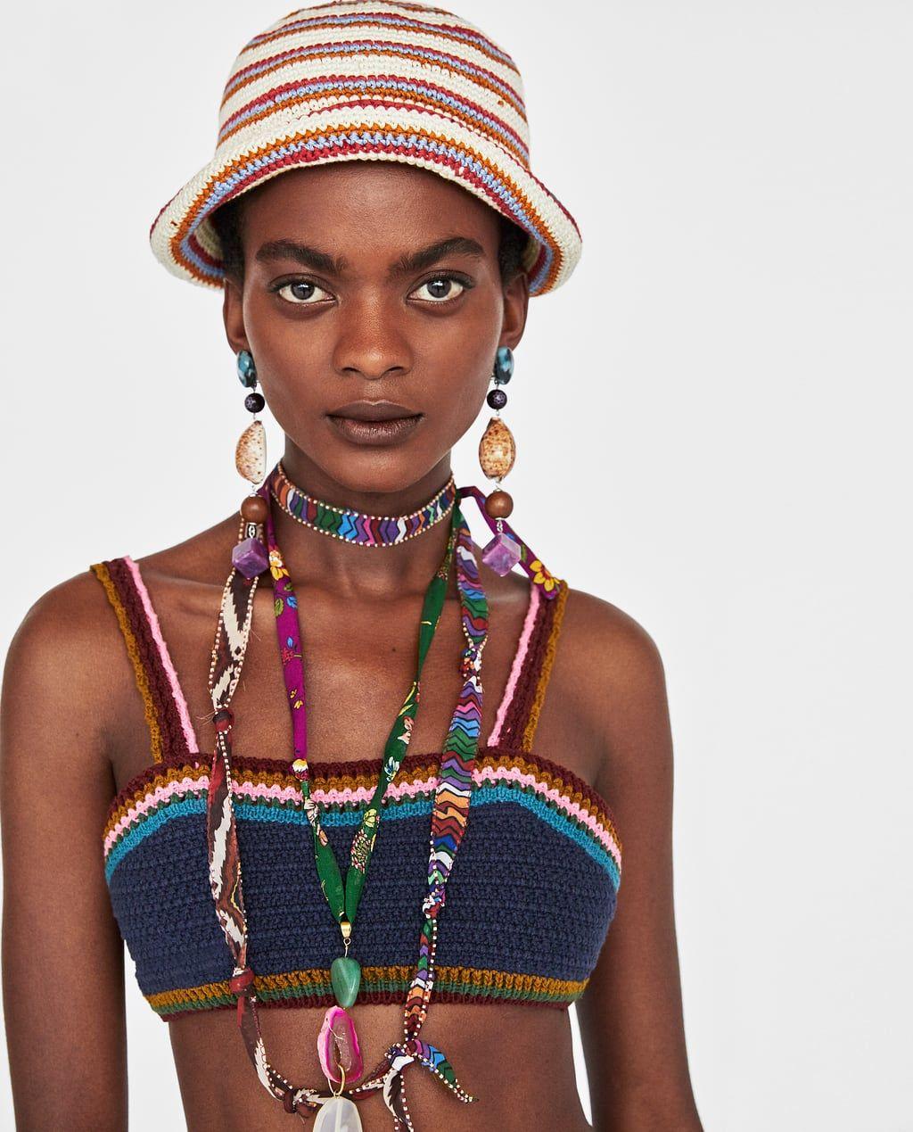 Image 2 Of Colourful Crochet Hat From Zara Hakelarbeiten Kleidung Hakeln Hakelbikini