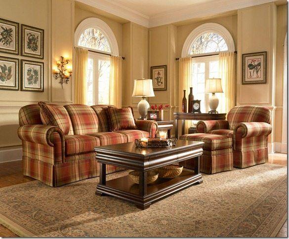Image Result For Burgundy Plaid Sofa